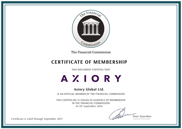 AXIORYの金融委員会への加盟証明書
