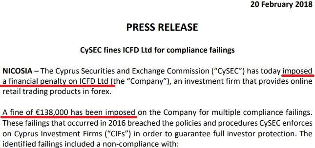 海外FX IFOREXに対しCYSEC キプロス証券取引員会が罰金命令