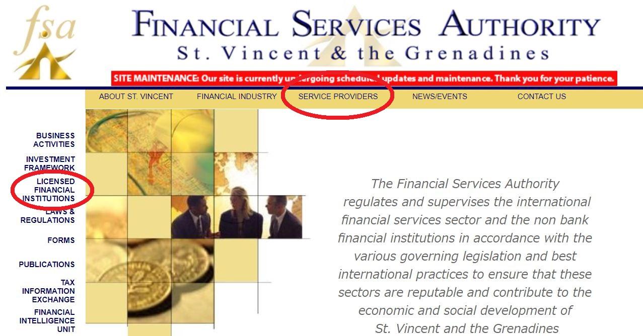 シンプルFXの金融ライセンスをセントビンセント・グラナディーン金融庁ホームページで確認したが見当たりませんでした