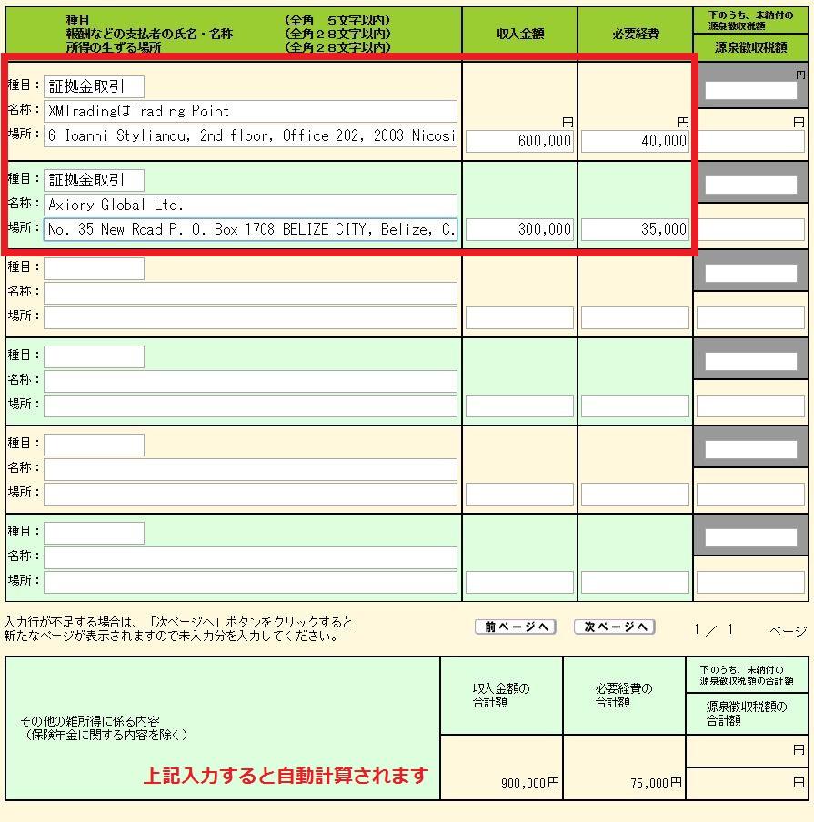 海外FXの税金・確定申告 国税庁ホームページの確定申告書の作成方法 証拠金取引