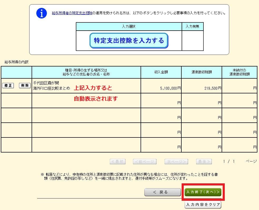 海外FXの税金・確定申告 国税庁ホームページの確定申告書の作成方法 書給与所得の内訳
