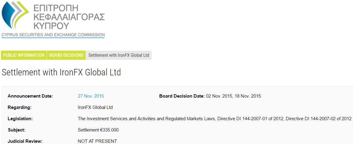 キプロス証券取引委員会 CySEC IronFXに対する335,000ユーロ 支払い命令