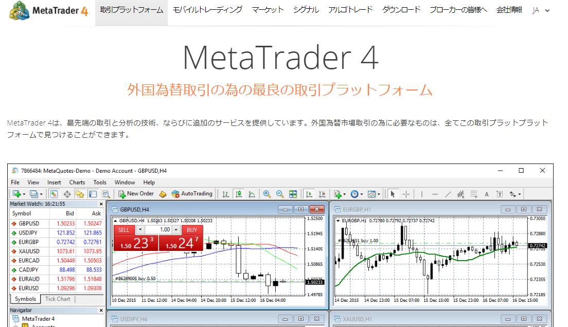 Meta Trader メタトレーダー MT4 無料でダウンロードでき無料で利用できる