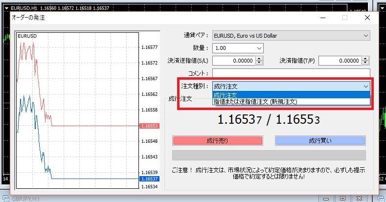 海外FX MT4 発注方法 注文種別の選択