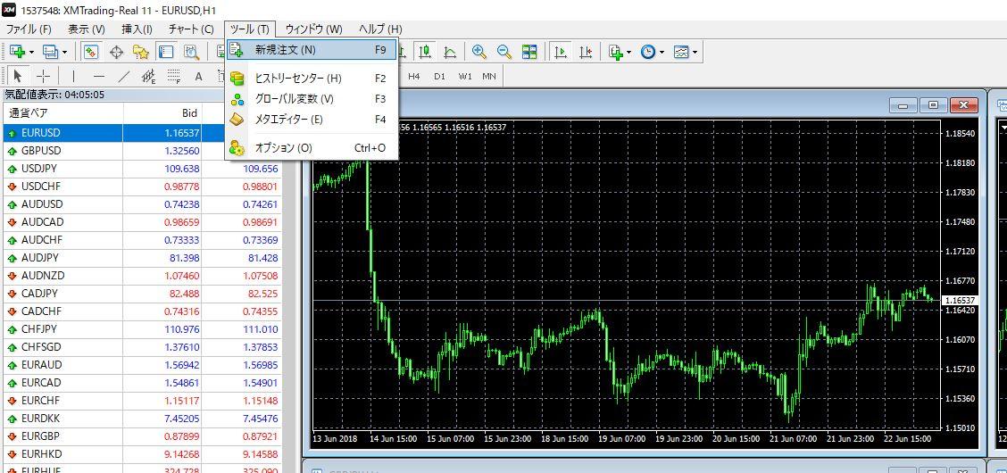 海外FX MT4 発注方法 オーダーの発注子画面の表示方法③