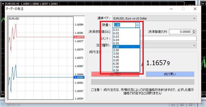 海外FX MT4 発注方法 ロット数量の設定