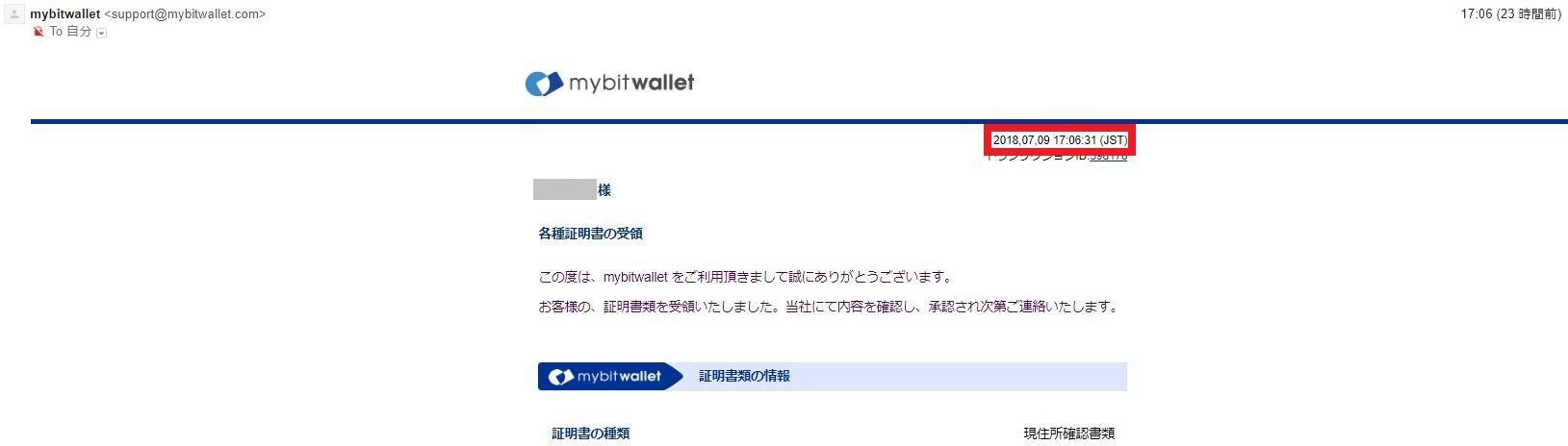 海外FX mybitwallet 各種証明書の受領