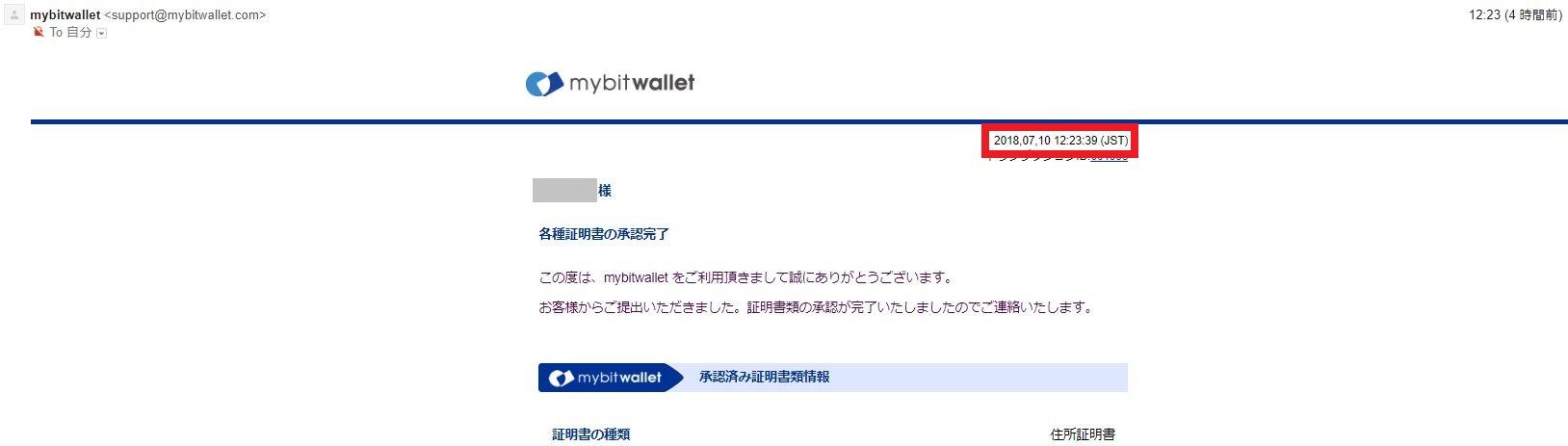 海外FX mybitwallet 各所証明書の証人完了