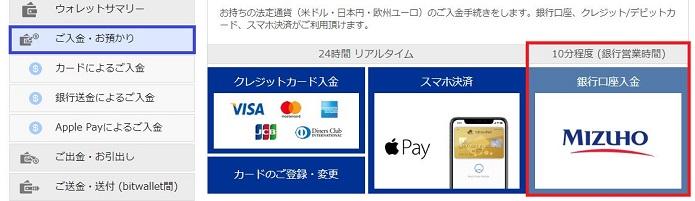 bitwallet 入金方法で銀行口座入金(みずほ銀行)を選ぶ