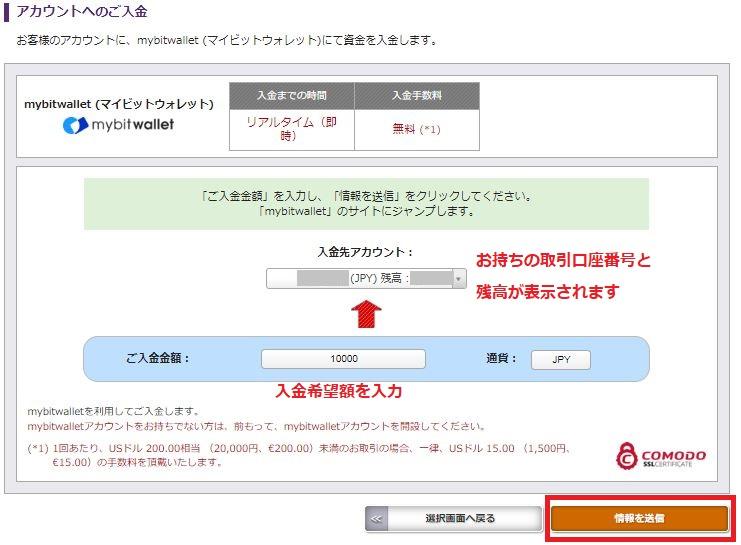 海外FX AXIORY mybitwallet 入金 アカウントへのご入金