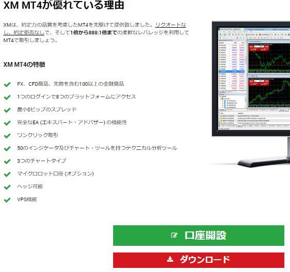 XM エックスエム デモ口座 MT4プラットフォームをダウンロード