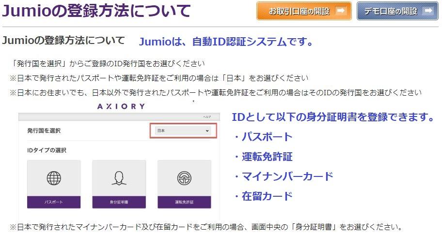 海外fx axioryではjumioの登録が必要となります