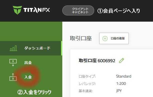 TitanFX タイタンFX bitwalletで取引口座へ入金する