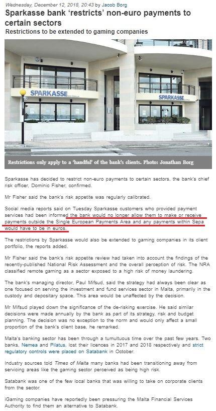 海外fx axioryはsparkasse銀行から銀行停止処分を受けたのではなく、sepaの制限で利用できなくなった