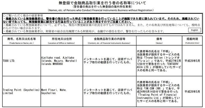 XMは日本の金融庁の警告を受けている